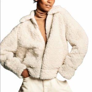 NEW Zara Short Faux Shearling Teddy Cream Jacket